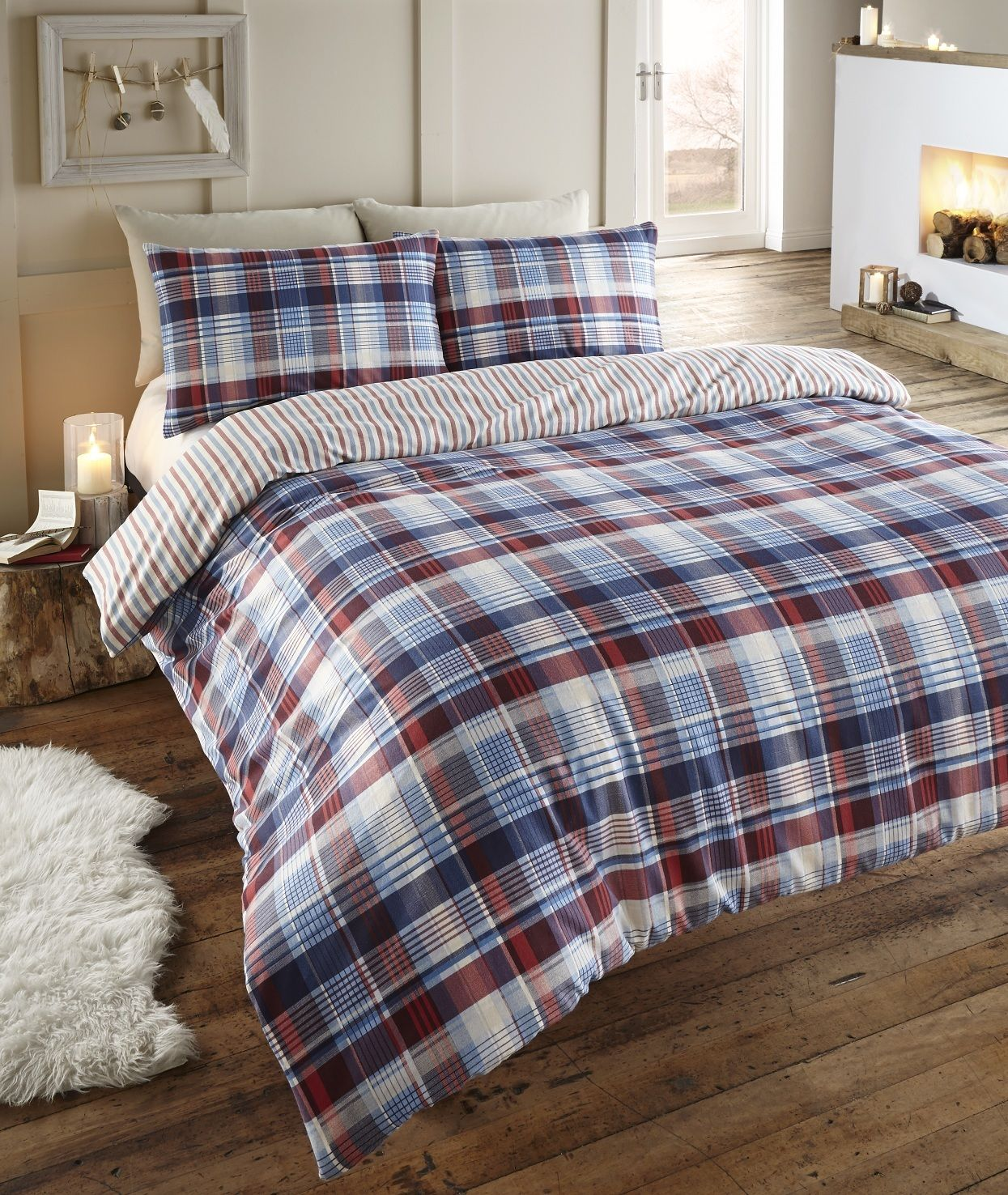 Angus Reversible Flannelette Duvet Cover Set From Century