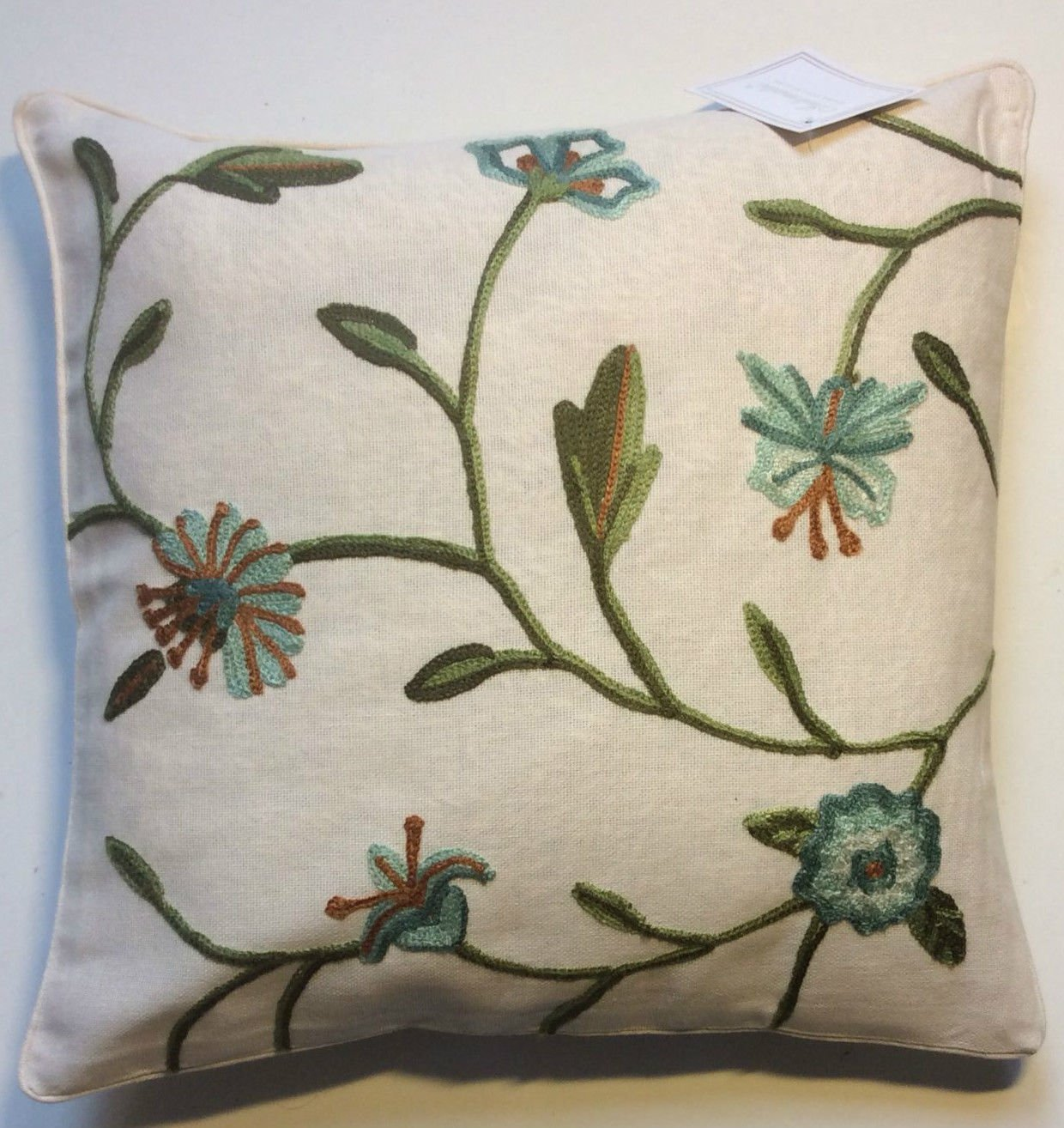 Anthea Vintage Embroidered Floral Cushion From Century