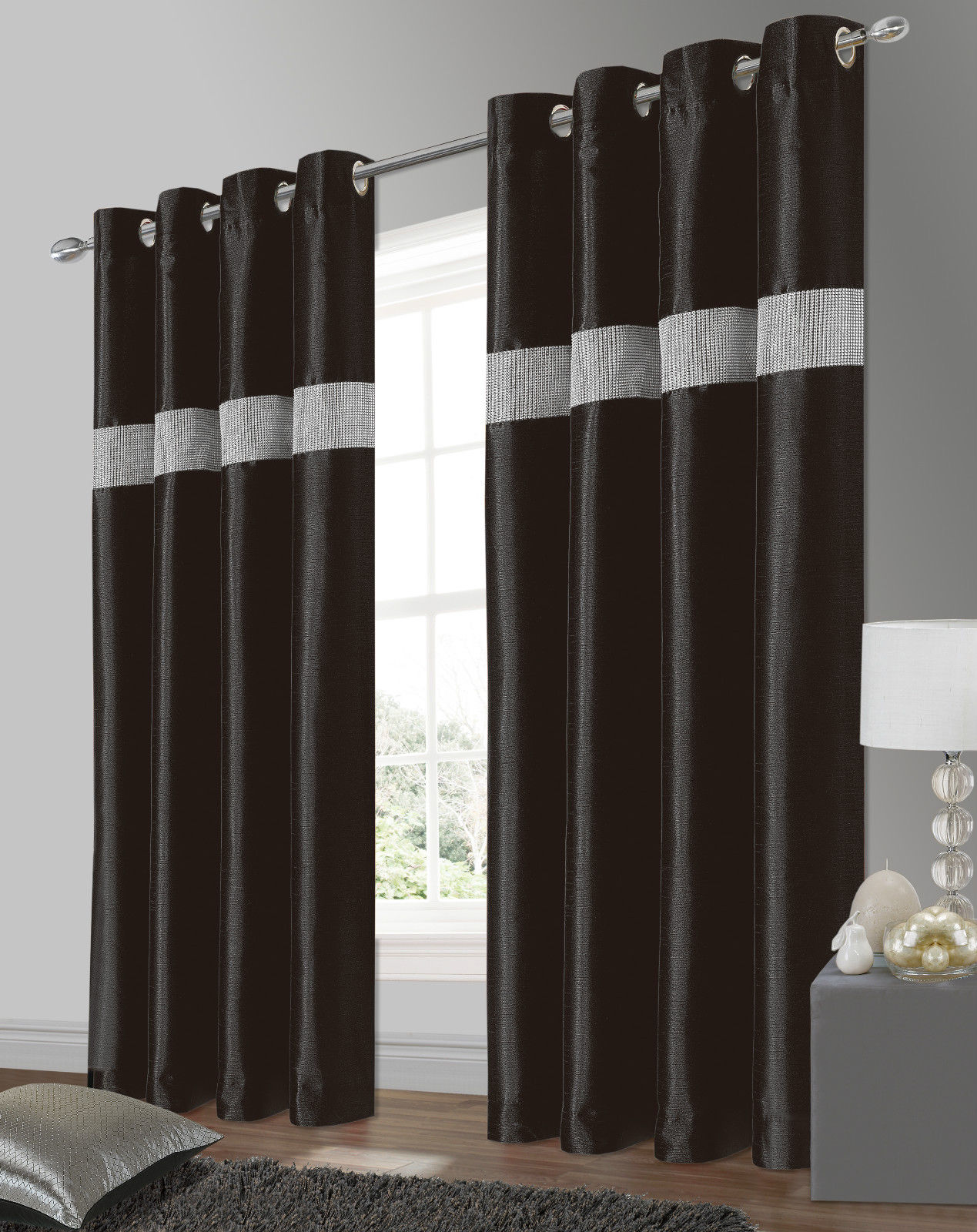 Belleza Faux Silk Amp Diamante Lined Curtains From Century