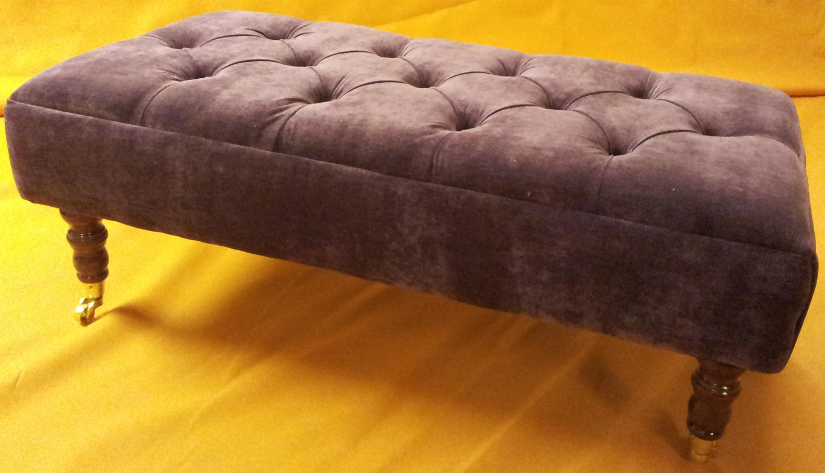 Chenille Footstool With Brass Castors From Century Textiles