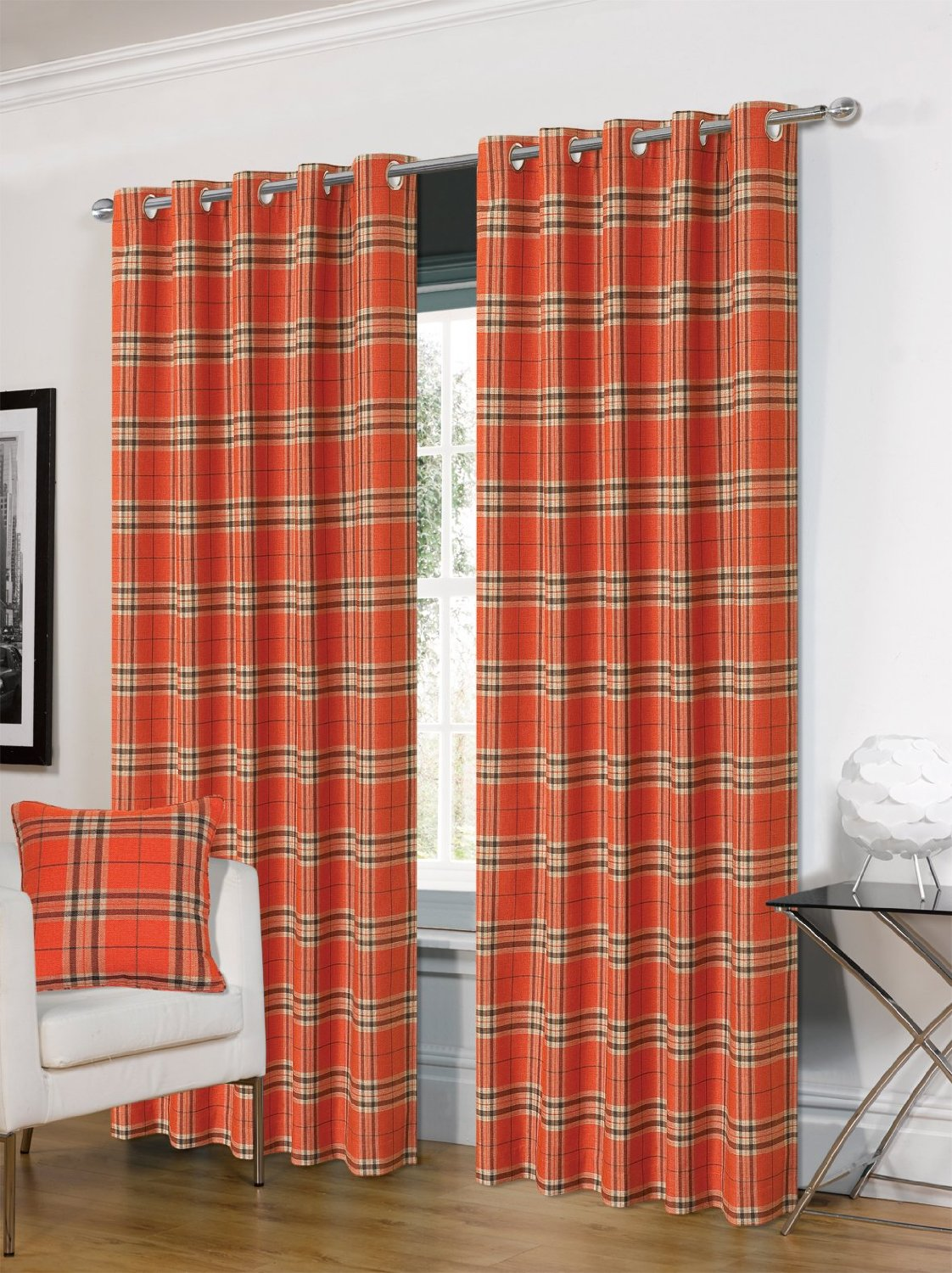 Hugo Tartan Fully Lined Ringtop Curtains From Century Textiles